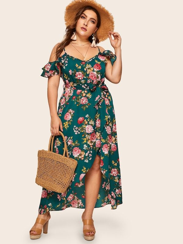 f0c45f2ddc Plus Tulip Hem Ruffle Trim Floral Print Dress | SHEIN | II PLUS SIZE ...