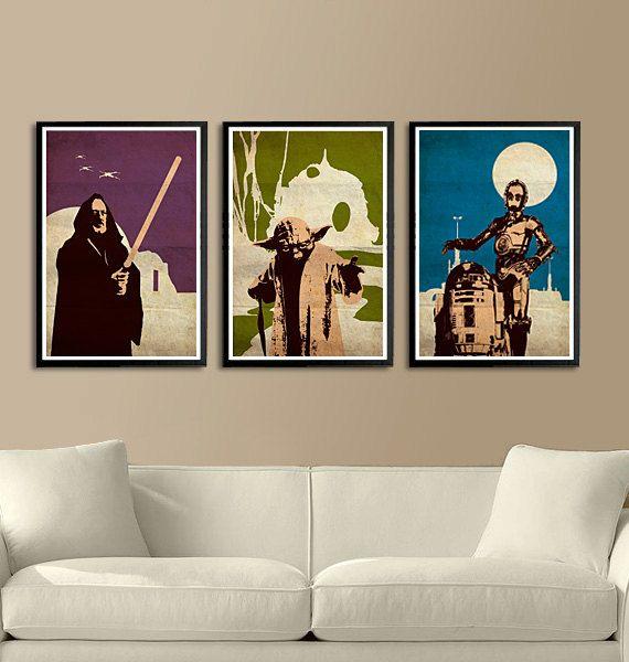 """Vintage Pop Art Star Wars Series A - Obi-Wan Kenobi - R2-D2 - C-3PO for 40 Dollars - 11""""X17"""" Print"""