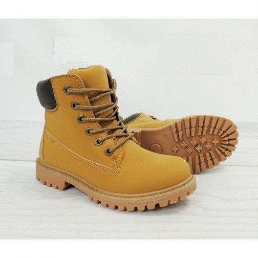 Dámske worker topánky svetlo hnedej farby na zimu - fashionday.eu