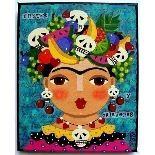 Frida Kahlo Fruit Paintings | ... Frida Kahlo Fruits and Skulls 8 x 10 PRINT of folk art painting by