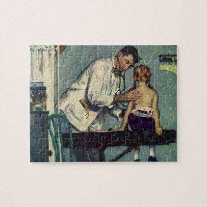 Vintage Medicine Doctor Seeing a Girl Patient Jigsaw Puzzle - nursing nurse nurses medical diy cyo personalize gift idea