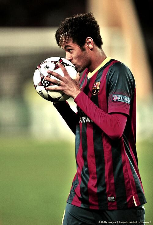 Neymar Jr Hes holding the soccer ball i got at the end of my senior year and he's my favorite player