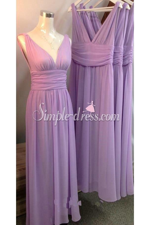 Simple-dress V-neck Long Chiffon Lavender Bridesmaid Dresses/Wedding Party Dresses CHBD-70799