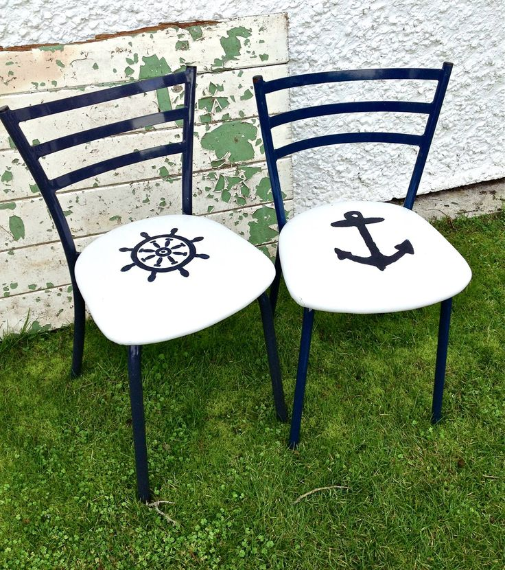 This time - nautical chairs. Blue metal frame, white chalk paint over vinyl and hand painted marine motifs. Cool as bedside tables or in the hallway for your bags?!