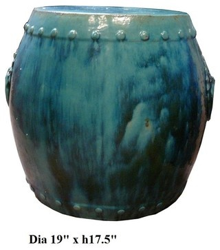 Chinese Drum Turquoise Green Clay Garden Stool - asian - ottomans and cubes - san francisco - Golden Lotus Inc