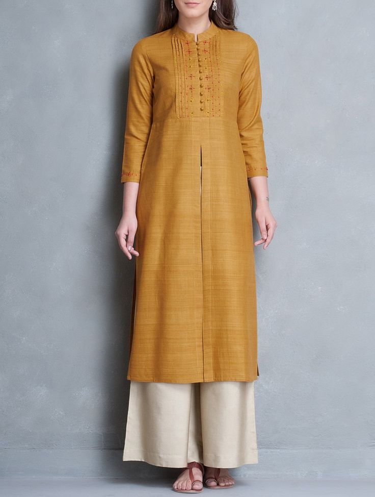 Buy Mustard Mandarin Collar Thread Embroidered Matka Silk Kurta Online at Jaypore.com