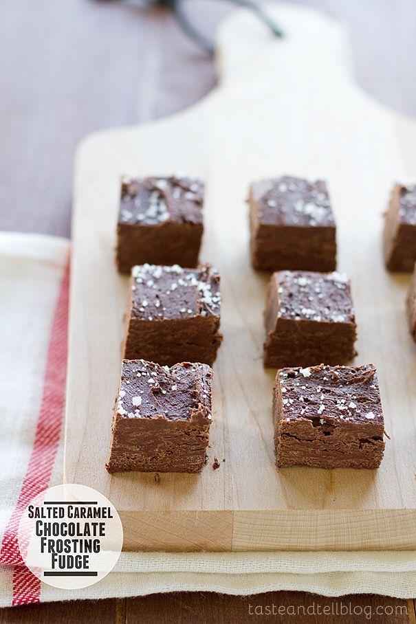 Salted Caramel Chocolate Frosting Fudge