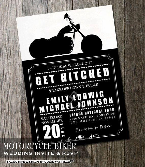 Biker Motorcycle Wedding Invitation DIY by OddLotEmporium on Etsy, $14.00
