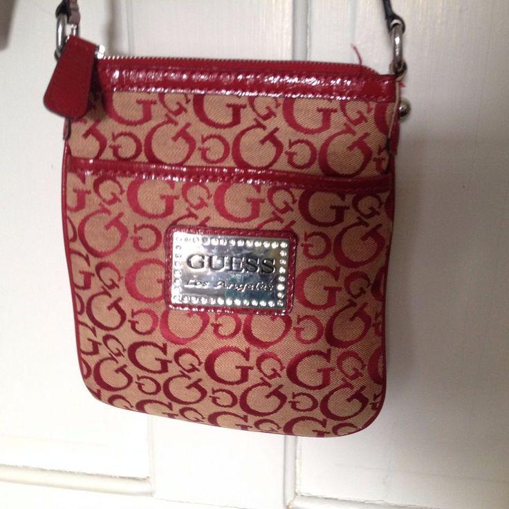 GUESS LOS ANGELES Red Fabric G Design Cross-body Bag / Purse / Handbag #GUESS #CrossBody