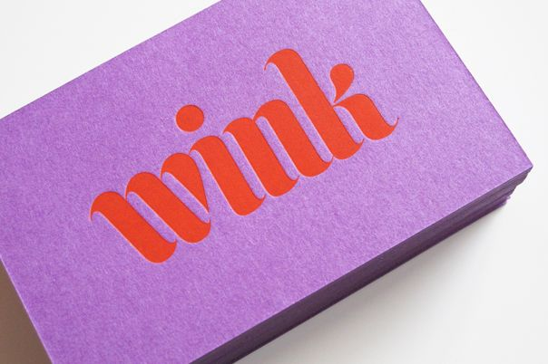 """wink"" by andreas neophytou: Business Cards, Colors Letterpress, Graphic Design Branding, Branding Identity Collateral, Design Typography, Orchid Logo, Fun Fonts, Businesscard"