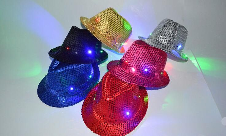 free shipping  Novelty Flashing LED Hat Jazz Stage Show Cap for Halloween and Christmas Party Hip-Hop