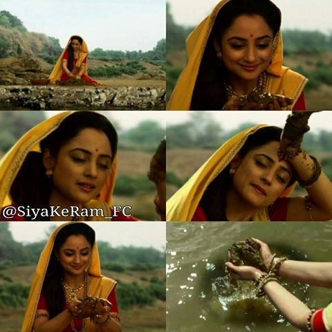 Collage @officialsiyakeram last night episode when Sita reaches the lake and smiles. She takes some mud from the water bed. She forms some mud. #SiyaKeRam #Sita @madirakshi_