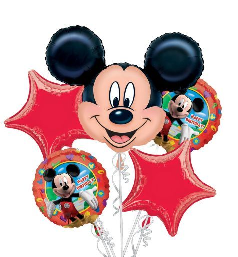 Happy Birthday Mickey Mouse Balloon Bouquet 5pc - Party City - also a big red 1 balloon
