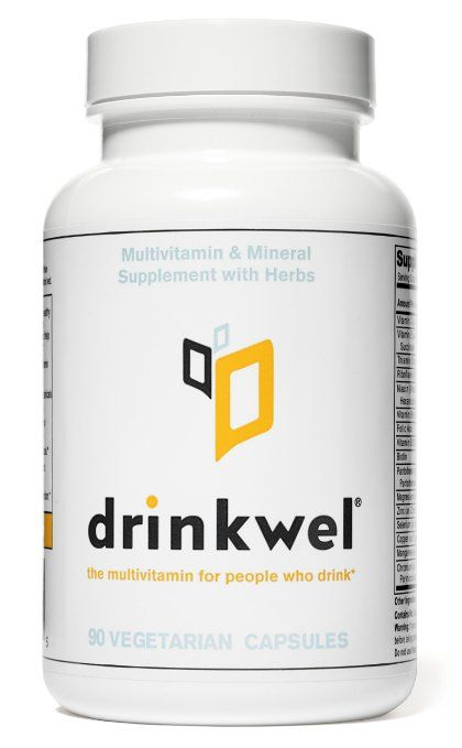 Drinkwel for Hangovers, Nutrient Replenishment & Liver Support (90 Vegetarian Capsules with Milk Thistle, Kudzu Flower, N-acetyl Cysteine)