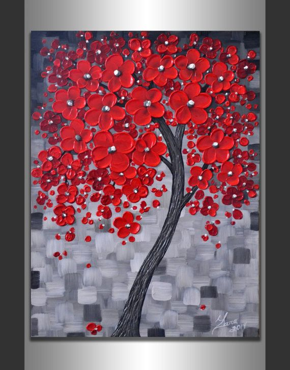ORIGINAL Modern Art Textured Landscape Abstract Red Cherry Blossom Tree Painting 18x24 Palette Knife Artwork Ready to Hang Float Canvas by ZarasShop