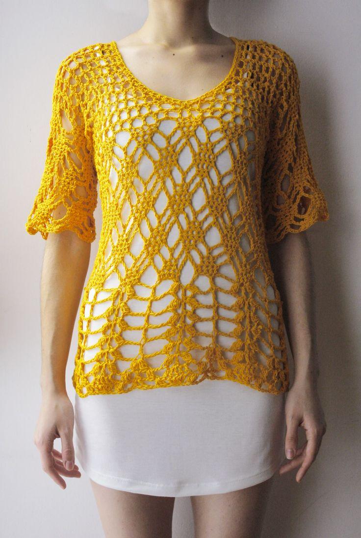 Blusca manga 3/4 amarillo ocre, tejido crochet artesanal.