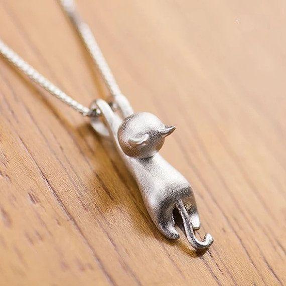 Collar de gato, pendientes del perno prisionero del gato, gato pulsera, 925 plata esterlina sólida forma viva delicada hecha gato colgante collar regalo para su (XL43, 44)