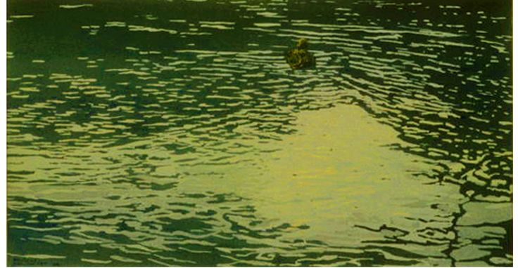 """pond ducks 9 11"""" x 20"""" micheal zarowsky watercolour on arches paper - private collection"""