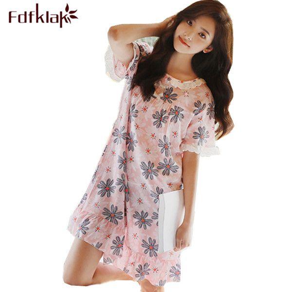 2017 Summer Fashion O-Neck Women Night Dress Short Sleeve Print Lingerie Sleepwear Cotton Nightwear Night Gowns Ladies Q199 #Affiliate