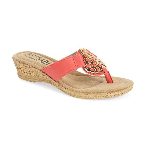 Women's Tuscany By Easy Street 'Rossano' Wedge Flip Flop Sandal ($50) ❤ liked on Polyvore featuring shoes, sandals, flip flops, coral, wedge heel shoes, wedge heel flip flops, cork wedge shoes, summer wedge sandals and cork wedge heel sandals