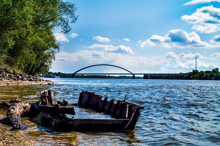 Shipwreck - Wreckage of a small boat on the shore of the Danube.