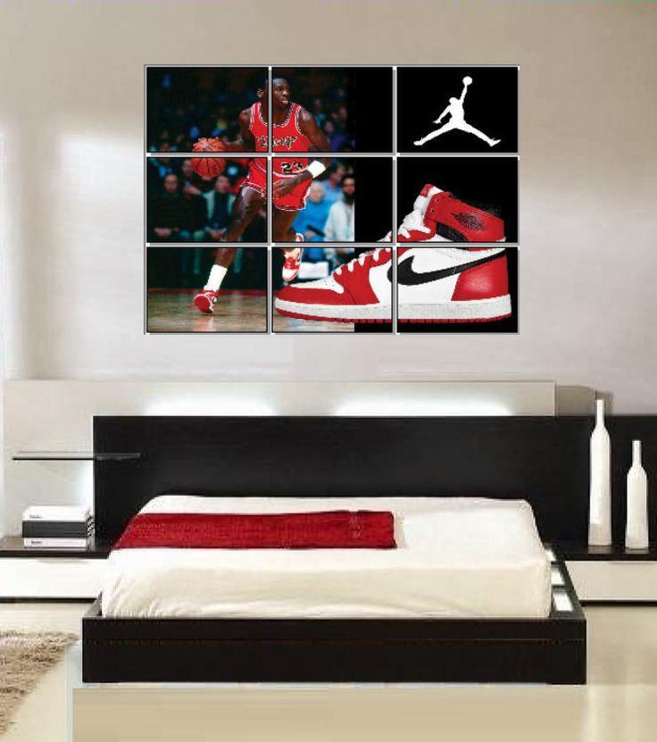 Najarian Nba Youth Bedroom In A Box: Large Michael Jordan Original Nike Air Jordans Shoe Wall