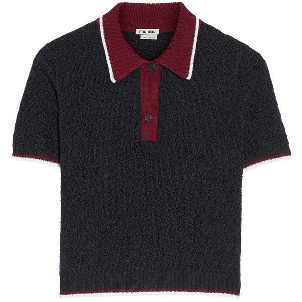 Miu Miu Textured-wool polo shirt (350 CAD) ❤ liked on Polyvore featuring tops, miu miu, shirts, navy, textured top, navy blue shirt, polo shirts, wool shirt and navy shirt