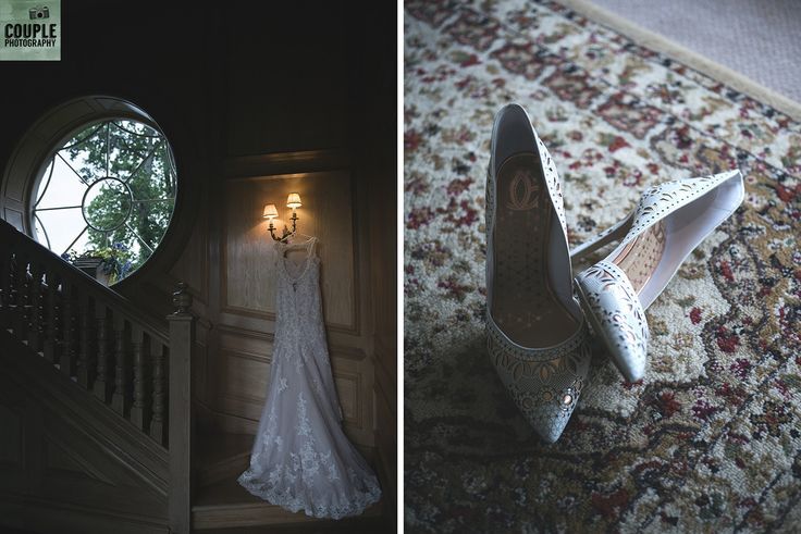 The wedding dress and shoes ready for the bride. Weddings by Couple Photography. www.couple.ie