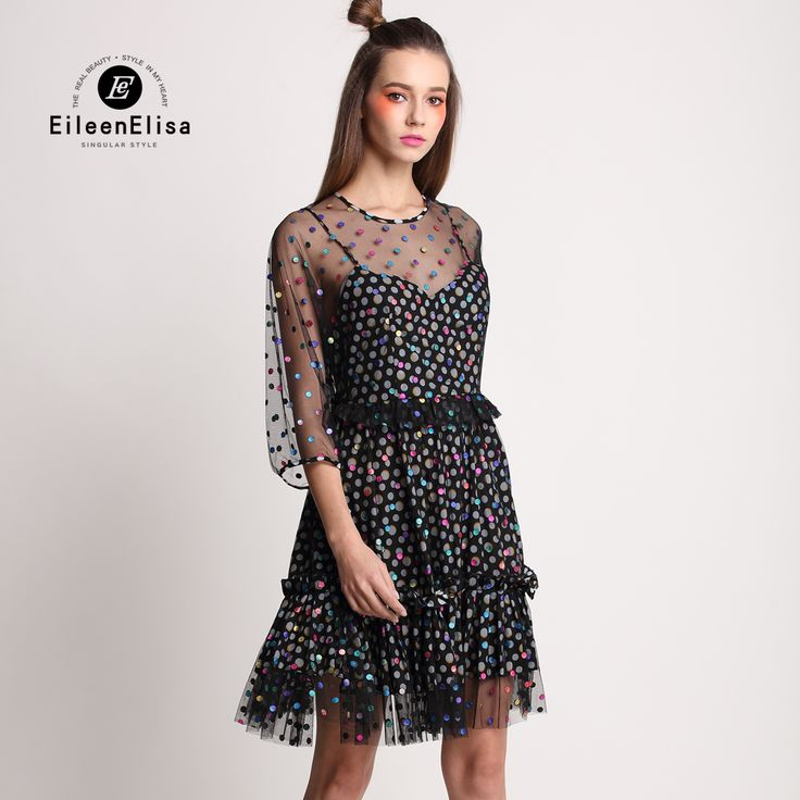 2017 Mesh Dresses EE Short Black Sexy Dresses Evening Summer Dresses Casual Knee Length Runway Women Dress Long Sleeve