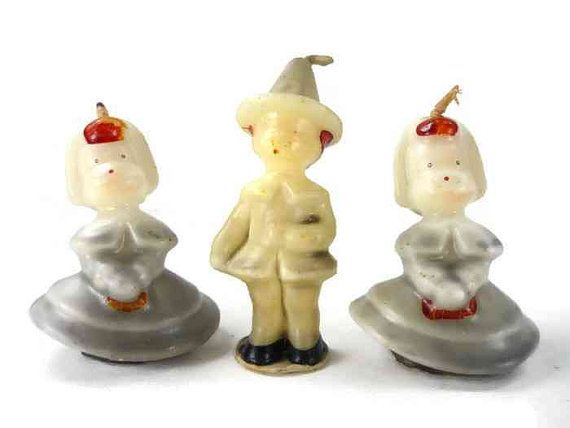 Vintage Tavern Thanksgiving Pilgrim Candles Group by ChromaticWit