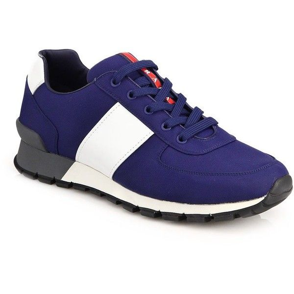 Prada Spazzolato Trainer Sneakers : Prada Shoes (2.235 BRL) ❤ liked on Polyvore featuring men's fashion, men's shoes, men's sneakers, apparel & accessories, blue, mens leather shoes, prada mens sneakers, mens retro sneakers, mens blue shoes and prada mens shoes