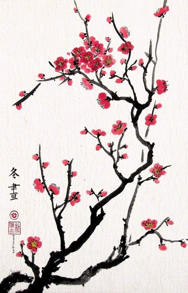 Sakura Cherry Blossom Art Cherry Blossom Painting Blossoms Art