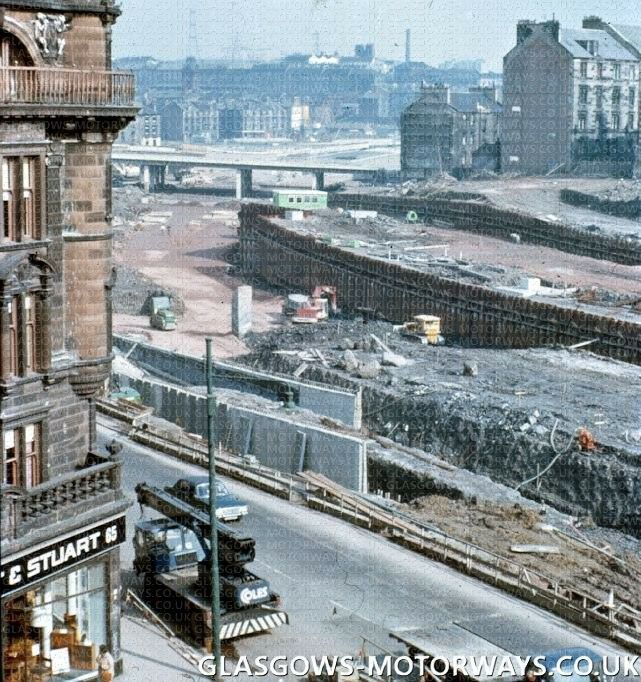 Soul-destroying vandalism in Glasgow. M8 construction, Charing Cross 1971
