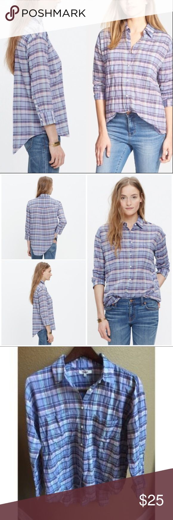 "Shrunken Trapeze Plaid Shirt By Madewell M NWT Madewell Shrunken Trapeze Shirt in Oakbrook Plaid in size Medium. A favorite over-sized button-down shirt gets a lean makeover complete with three-quarter sleeves. Undeniably cool in a crinkled plaid that's made for tossing in a suitcase. True to size.Cotton/spandex.   Length of front from shoulder to  hem is 26"". Length of back is 29"".Purchased on Final Sale from Madewell Store and has red line through tag on neck. Item from a pet and smoke…"