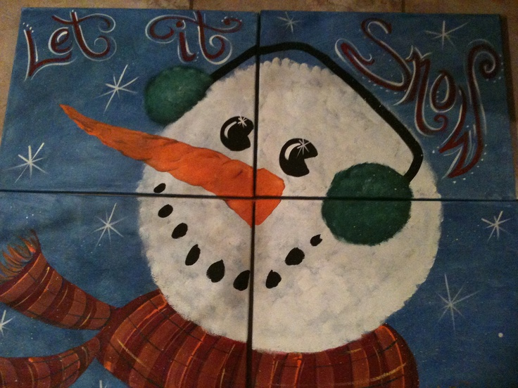 Hand painted Snowman Painting. $125.00, via Etsy.