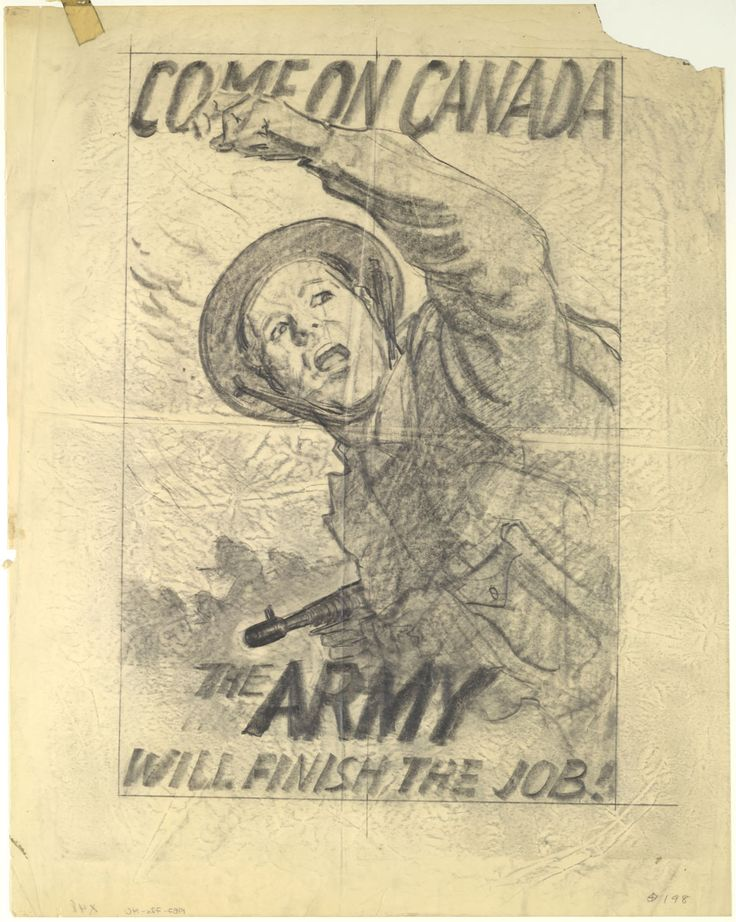 "MIKAN 2860063 Study for Poster ""Come on Canada. The Army Will Finish the Job"". January 1942 [282 KB, 1000 X 1253]"