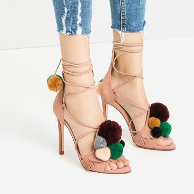 Image 3 of LEATHER HIGH HEEL SANDALS WITH POMPOMS from Zara