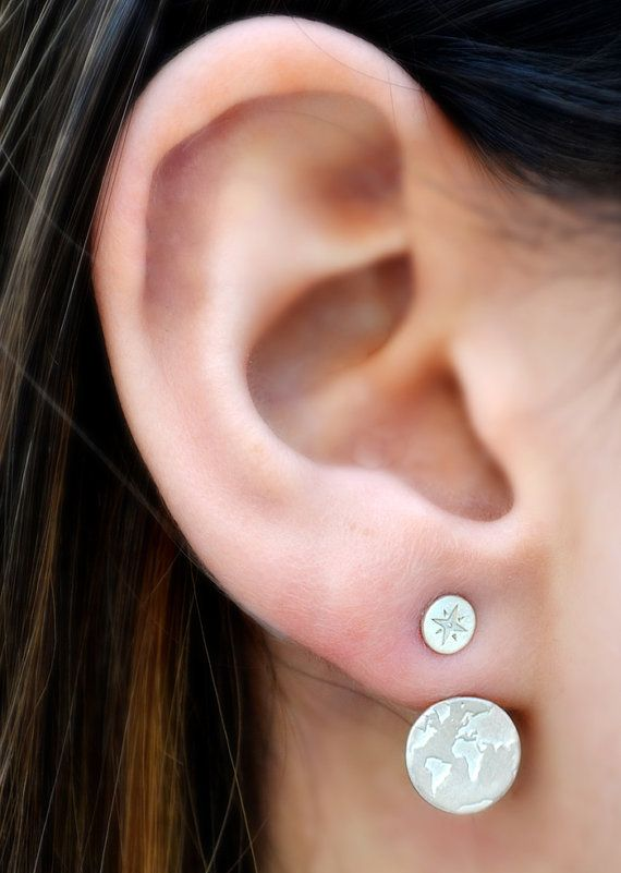 Ear Jacket World Map / Christmas Gift / Traveler Gift / Globe Earrings / Swing Travel Earrings /  Fernweh / Gifts for Women / Travel jewelry