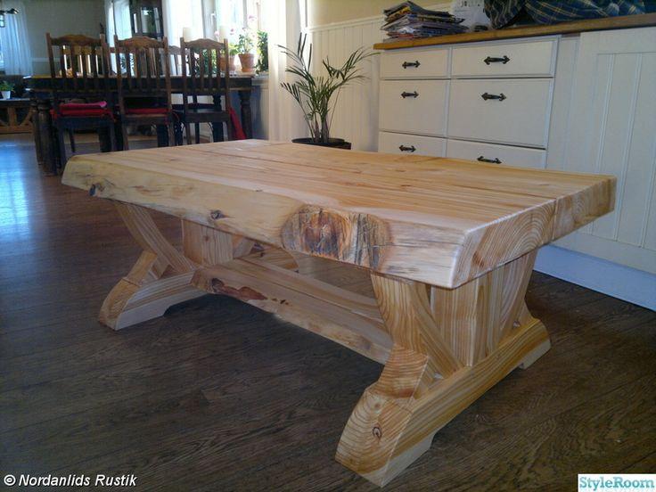 Här hittar Ni lite unika och vackra möbler, något utöver det vanliga! Skriv gärna en kommentar, alltid roligt!. Ett egendesignat soffbord i en underbar färgkombination. Tvåfärgat matsalsbord. . Ett rejält vitlaserat matsalsbord. Skivan består av grova plank, där dom yttre planken är okantade.
