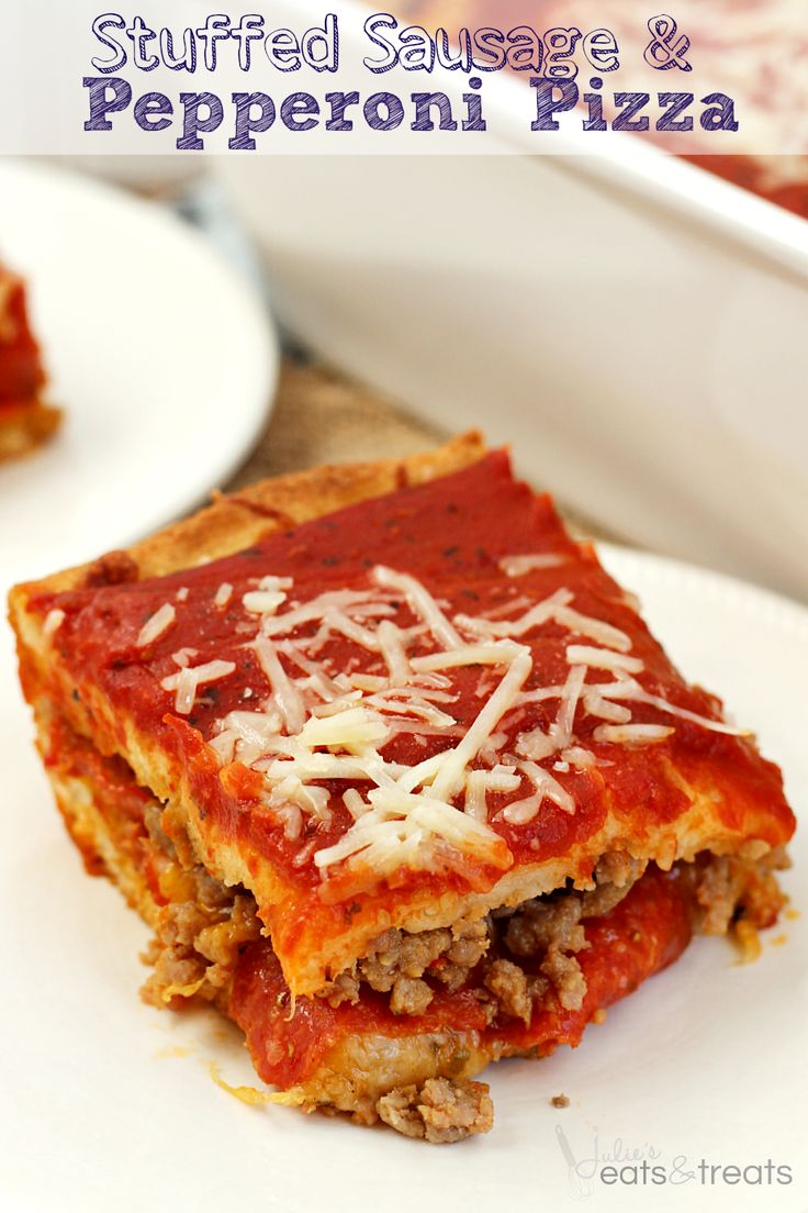 Stuffed Sausage & Pepperoni Pizza ~ Easy Pre-Made Pizza Crusts Stuffed with Cheese, Sausage & Pepperoni! Topped with Pizza Sauce!