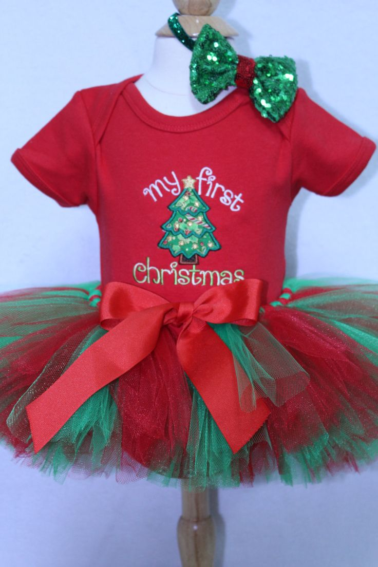 My first Christmas outfit for baby girls, 1st Christmas outfit for girls, Red Personalized bodysuit,Christmas tree shirt, Christmas headband by DollyWollySewing on Etsy