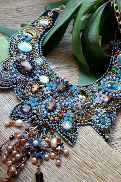 Little creatures of the wood beaded collar.. €509,00, via Etsy.