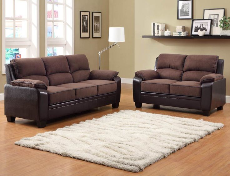Homelegance Ellie 2 Piece Living Room Set W/ Dark Brown Microfiber Seat  Ellie Collection, Dark Brown Microfiber Seating And Vinyl Cording And Side  Panels, ... Part 87