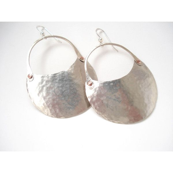 Hammered Silver Crescent Contemporary Earrings Riveted Hoops Cold... (€26) ❤ liked on Polyvore featuring jewelry and earrings