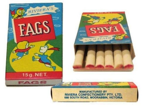 Fags - used to buy these when mum gave us our weekly pocket money. Didn't lead to any smoking habit - we just thought it was fun, and they tasted pretty good too.