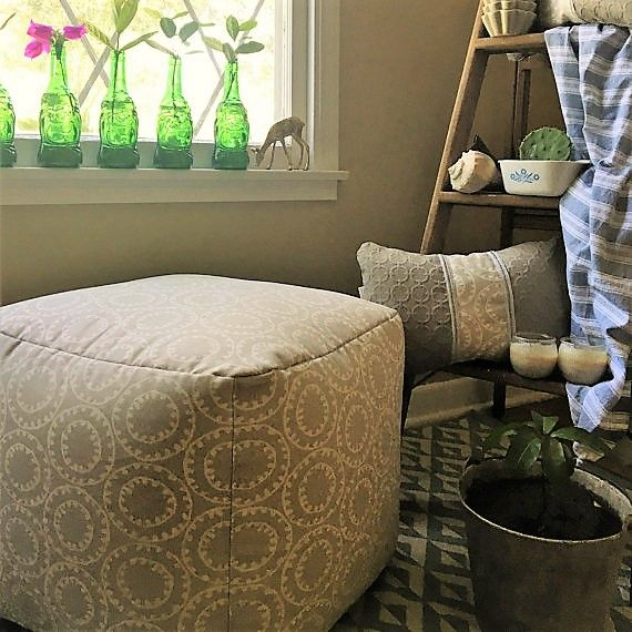 Pouf / Ottoman / Round / Flour Cushion / Foot Rest / Beige / White /. Grey Living  Room ... Part 58