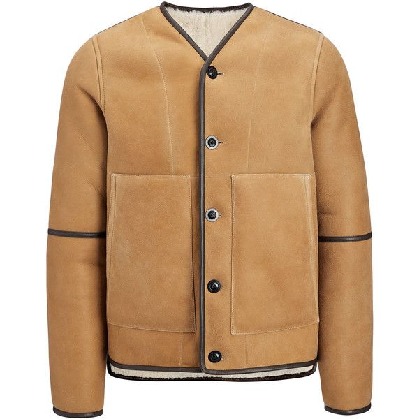 Joseph Suede Sheepskin Leigh Reversible Jacket (£2,370) ❤ liked on Polyvore featuring men's fashion, men's clothing, men's outerwear, men's jackets, cognac, mens sheepskin jacket, mens suede jacket, mens suede leather jacket, mens collarless jacket and mens reversible jacket