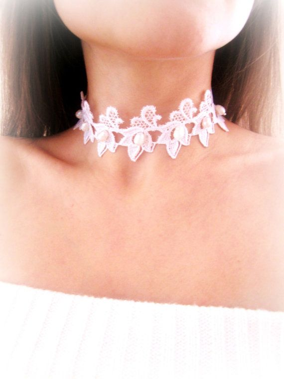 Fresh water pearls lace choker and earrings by MalinaCapricciosa