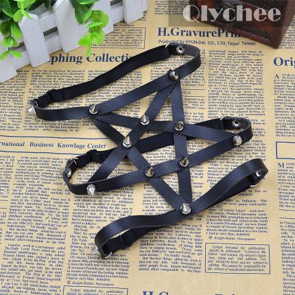 2015 New Sexy Punk Goth Harajuku Style Star Pentagram Leather Garter Belt Legr Faux Handmade-in Garters from Women's Clothing & Accessories on Aliexpress.com | Alibaba Group