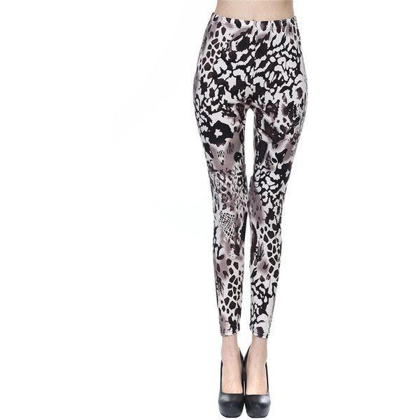 Gray Ladies Tiger Printed Milk Fiber Leggings (11 CAD) ❤ liked on Polyvore featuring pants, leggings, black, grey pants, grey trousers, gray leggings, tiger print pants and tiger leggings